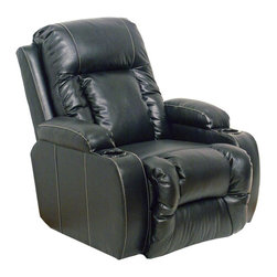 Catnapper - Top Gun Power Chaise Recliner (Black) - Color: BlackReal leather everywhere your body touches. Known as leather with matching vinyl. Dramatic contrasting baseball stitch. Functional cup holders. Storage table. Comfortable chaise seating. Reclining Mechanism:. Installed with noiseless sure-lock spring clips. Strongest recliner seat box available. No warping or splitting in this critical area (standard on most models). Direct drive cross bar ensures that both sides of the mechanism operate together, in sequence, for longer life. Unitized steel base. Heavy 8-gauge sinuous steel springs in the seat provide strength, comfort and flexibility. Made of bonded leather and vinyl. Pictured in Black. No assembly required. Limited lifetime warranty. 37 in. L x 41 in. W x 43 in. H (90 lbs.)