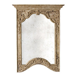Kathy Kuo Home - Saxony French Provencal Antique Carved Pedestal Arched Mirror- Small - Bring the beauty of a French garden into your country cottage living space with this regal Provencal mirror. Flowing vines and flowers cascade around an arched, antiqued mirror. The pedestal style top gives this piece additional distinguished, European flair.