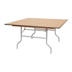 PRE Sales - Square Table w Locking Legs (48 in.) - Choose Size: 48 in.Rubber bull-nose edge. Birch plywood top. Automatic locking legs. Polyurethane finish on top and bottom for added protection. Tested lead-free. 48 in. L x 48 in. W (56 lbs)