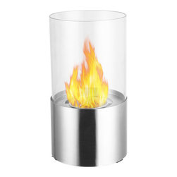 "Ignis Products - Circum Stainless Steel Round Tabletop Ventless Ethanol Fireplace - Indulge in the warmth and inviting heat of a fireplace with this Circum Stainless Steel Tabletop Ventless Ethanol Fireplace that you can literally use in any room. This beautiful fireplace can be used wherever you like, and if you decide you'd like to use it somewhere else, you can easily move it to another location. It has a round glass shield that covers the 0.5-liter ethanol burner insert that comes with the unit. The clear glass of the shield allows you to fully enjoy the open flame inside. This unit can be used inside or outside, and the flame will burn for a full two hours between refills. Dimensions: 11.5"" x 6.5"" x 6.5"". Features: Tabletop, Freestanding - can be placed anywhere in your home (indoors & outdoors). Round Glass Barrier. Ventless - no chimney, no gas or electric lines required. Easy or no maintenance required. Capacity: 0.5 Liter. Approximate burn time - 2 hours per refill. Approximate BTU output - 2000."