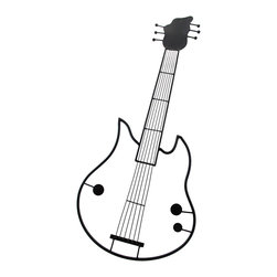 Black Metal Vertical Guitar Wall Plaque - This awesome black enamel coated wall hanging is shaped like an electric guitar and looks great on any colored wall! Made entirely of metal, it measures 32 inches long, 14 inches wide, 1/4 inch deep. It mounts vertically to the wall with one screw (not included.) It makes a great gift for any musician.