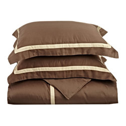 """300 TC King/California King (Hotel) Duvet Cover Cotton Set Solid - Mocha/Honey - A hotel luxury way to decorate your bedroom with a 300 Thread Count Duvet Cover Set. The perfect complement to a guest bedroom or master suite! These 300 thread count sheets of premium long-staple cotton are """"sateen"""" because they are woven to display a lustrous sheen that resembles satin."""