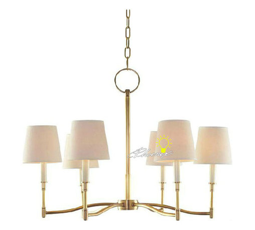 Harbor House Anique Copper and 6 Fabric Shades Chandelier -