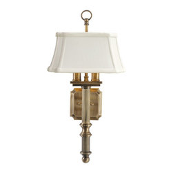 House of Troy - Wall Sconce - House of Troy WL616-AB - Antique Brass Finish with Shantung Shade. 19H x 9.25W x 9.75Deep. Takes two 60 watt Candelabra bulbs (not included). Weight: 8 lbs. By House of Troy