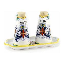Artistica - Hand Made in Italy - Ricco Deruta: Oil and Vinegar Conic Bottles on Tray - Ricco Deruta: This product is part of the renown Ricco Deruta Collection.