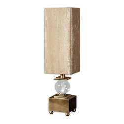 Uttermost - Uttermost Ilaria Bronze Buffet Lamp 29491-1 - Coffee bronze plated metal accented with a crystal ball. The square, hardback shade is a silken, golden taupe, crushed fabric.