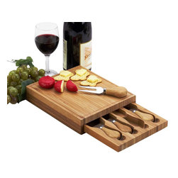 Picnic at Ascot - Edam Cheese Board Set - The Edam bamboo cheese board set with hidden drawer, includes four stainless steel serving utensils with bamboo handles. Convenient size and quality details make this set a pleasure to give and to use. Lifetime Warranty.