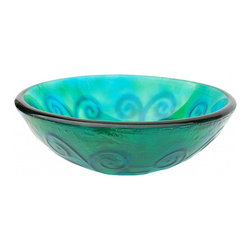 "Eden Bath - Green And Blue Swirls Glass Vessel Sink - Material: Double Layer Tempered Glass; Color: Green and Blue; Dimensions: 16.5"" Diameter X 5.75""H; Thickness: 0.75""; Drain Hole: 1.75"" - No Overflow; Weight: 15 lbs; Installation: Top Mount; Not Included: Mounting Ring, Pop Up Drain & Faucet."