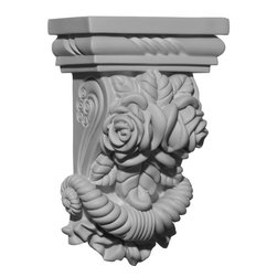 "Ekena Millwork - 5 1/4""W x 2 3/4""D x 8 1/8""H Rose Corbel - 5 1/4""W x 2 3/4""D x 8 1/8""H Rose Corbel. These corbels are truly unique in design and function. Primarily used in decorative applications urethane corbels can make a dramatic difference in kitchens, bathrooms, entryways, fireplace surrounds, and more. This material is also perfect for exterior applications. It will not rot or crack, and is impervious to insect manifestations. It comes to you factory primed and ready for your paint, faux finish, gel stain, marbleizing and more. With these corbels, you are only limited by your imagination."
