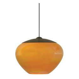 LBL Lighting - LBL Lighting Cylia Amber 50W Monopoint 1 Light Track Pendant - LBL Lighting Cylia Amber 50W Monopoint 1 Light Track PendantShimmering with an iridescent finish, this beautiful pendant features modern-shaped Amber glass. Lit from within by a 50 watt xenon bulb, this charming fixture will add ample style to any locale.Each Monopoint lighting fixture includes a single-point canopy with built-in transformer right out of the box for a quick and easy installation.LBL Lighting Cylia Amber 50W Monopoint Features: