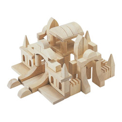 Guidecraft - Guidecraft Hardwood Tabletop Building Blocks - Guidecraft - Wooden Play Sets - G6100 - Rebuild great structures from ancient history or challenge your kids to create new Architectural works of art with these tabletop block sets. 87-piece hardwood building block set will allow the creation of Gothic Roman and Baroque style buildings. Limited only by the imagination you can create your own landmarks using unique shapes or build designs that are included. Clean-up and storage is a breeze with the clear plastic bucket and lid with handles.