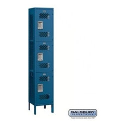 Salsbury Industries - Extra Wide Vented Metal Locker - Triple Tier - 1 Wide - 6 Feet High - 15 Inches - Extra Wide Vented Metal Locker - Triple Tier - 1 Wide - 6 Feet High - 15 Inches Deep - Blue - Assembled