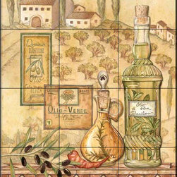 The Tile Mural Store (USA) - Tile Mural - Tuscany I  - Kitchen Backsplash Ideas - This beautiful artwork by Charlene Audrey has been digitally reproduced for tiles and depicts a nice Italian olive oil scene.  Our decorative tiles with wine are perfect to use for your kitchen backsplash tile project. A wine tile mural adds elegance and interest to your kitchen wall tile area and makes a wonderful kitchen backsplash idea. Pictures of wine on tiles and images of wines bottles on tiles and wine glasses on tiles is timeless and these decorative tiles of wine blend with any decor. Your kitchen will come to life with a tile mural featuring wine.