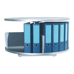 Empire Office Solutions - Moll Deluxe Desktop Binder Storage Carousel - One Tier in Graphite Wood - This one tier desktop rotary binder carousel turns in a full rotation and fits on a desk or counter. Turn the carousel to find the binder or media you need. The 32-inch diameter unit offers abundant storage in a small area.