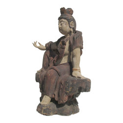 Golden Lotus - Chinese Antique Sitting Peaceful KwanYin Wooden Carving Statue - This is a Chinese antique  wooden sitting KwanYin statue which is made of solid elm wood.  It is perfect to put at your entrance of hall way.  Especially, its right hand is removable.