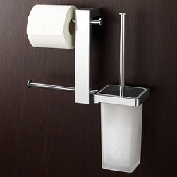 Nameeks - Bridge Wall-Mounted Bathroom Butler | Nameeks - Made in Italy. A part of Gedy by Nameek's.Give your contemporary bathroom a stylish upgrade with the useful Bridge Wall-Mounted Bathroom Butler. It has two toilet roll holders and a toilet brush holder integrated as a single unit, saving you wall and floor space. Featuring a high-quality stainless steel, brass and frosted glass construction make this multi-function product easy to clean and maintain. Its polished chrome finish makes it a perfect pick for contemporary bathrooms. Product Features: