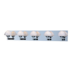 "ET2 - ET2 Blossom 35 1/2"" Wide Crystal Bathroom Light Fixture - Tiers of gleaming glass form petals of this fantastic crystal bathroom light fixture. These intricate shapes create five glistening shades that surround warm Xenon bulbs. Polished chrome finish arms and a long rectangular wallplate add an additional level of shine to this wonderful contemporary bathroom wall light design from ET2. Metal canopy. Polished chrome finish. Crystal shades. Includes five 40 watt G9 Xenon bulbs. 35 1/2"" wide. 6"" high. Extends 7"". Color temperature of bulbs is 2900K.  Metal canopy.   Polished chrome finish.    Crystal shades.   Includes five 40 watt G9 Xenon bulbs.   35 1/2"" wide.   6"" high.   Extends 7"".   Color temperature of bulbs is 2900K."