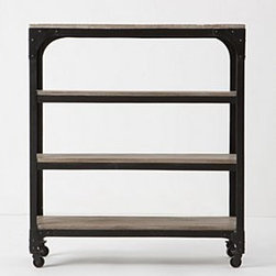 "Anthropologie - Decker Bookcase, Short - A minimalist delight of rustic iron and smooth mango wood. Whether you prefer modern or classic decor, its clean lines will add a quiet moment to the landscape of your living space.Caster legsMango wood, iron39""H, 34""W, 13""DImported"