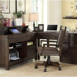 Riverside Promenade L Shaped Computer Desk with Options - Warm Cocoa