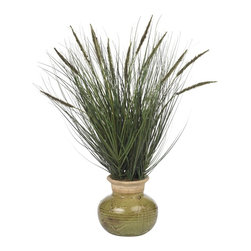"Nearly Natural - 27"" Grass with Mini Cattails Silk Plant - Not for outdoor use. Soft, wispy and delicate. Perfectly adorned with mini ""cat tails"". The embodiment of nature left undisturbed. Included container size: 8 in. W X 7 in. H25 in. W X 25 in. D X 27 in. H (7.5lbs). When viewed in an ""un-mowed"" state, most grass is actually quite beautiful. Soft, wispy, and delicate; tall, flowing grass invokes an emotion of calm and peace. And this selection of cascading grass is perfectly adorned by mini ""cat tails"", giving the embodiment of nature left undisturbed by man (or mower.) Perfectly complimented by an attractive glazed vase, this selection is the perfect size for an office or sunroom. And as an added plus, no watering or mowing is ever needed!"