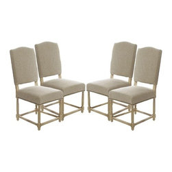 The Gallery - Set of 4 Empire Parsons Upholstered Side Dining Chairs - For a classic, regal look for your dining room, look no further than this set of exquisitely upholstered chairs. Expect a wow moment when you pull these oak-legged beauties up around your table. The natural linen hue of the seats makes these chairs a perfect fit for any color dining room.