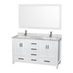 """Wyndham Collection - Wyndham Sheffield 60"""" Double White, White Carrera Marble, Square Sink - Wyndham Collection®"""