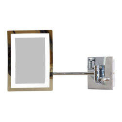 American Imaginations - 6.25-in. W x 8.5-in. H Rectangle LED Mirror With Light Dimmer And 3x Zoom - This elegant 6.25 x 8.5 inch rectangle LED mirror is a perfect addition to any bathroom. It includes a light dimmer and a dual 1x/5x zoom. 6.25 in. x 8.5 in. rectangle magnifying makeup mirror with brass construction with chrome plating. 360 degree swivel. This Magnifying Mirror features Antique Brass hardware. CE and RoHS certified, Quality control approved in Canada and re-inspected prior to shipping your order