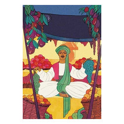 "Buyenlarge.com, Inc. - Afghanistan - The Bazaar Fruit - Seller - Fine Art Giclee Print 16"" x 24"" - Cover art to a magazine produced in the 1920's and 1930's to address the surge of interest in America about the East. The art was mixed but a heavy emphasis was put on Art Deco designs and many were designed by Frank McIntosh who was famous for is Asia inspired designs."