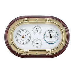 """Clock, Tide Clock, Thermometer & Hygrometer Porthole Weather Station - The clock, tide clock, thermometer  hygrometer on mahogany porthole weather station measures 8""""H x 12""""W x 3.25""""D. This item features a quartz clock, tide clock, thermometer  hygrometer. It is made of a solid brass tarnish proof porthole and a solid mahogany wood base. The two brass knobs at the bottom of the tarnish proof brass porthole will turn to allow easy access to the components for adjustment. It will add a definite nautical touch to whatever room it is placed in and is a must have for those who appreciate high quality nautical decor. It makes a great gift, impressive decoration and will be admired by all those who love the sea."""