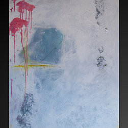 Original Abstract Canvas Modern Acrylic Painting - 24x36- Blues, White ,Yellow, - Dimensions : 24x36 profile of approx 1''
