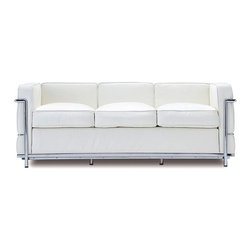 "IFN Modern - Le Corbusier LC2 Style Sofa - Created by one of the most well-known Swiss-French architects Le Corbusier (Charles-Edouard Jeanneret-Gris), the LC line is Le Corbusier's successful effort at fusion of urban style with the industrial steel age as a breakthrough to modernism. Like a cushion cradle, the LC Reproduction line boasts a unique, stylish and attention-grabbing externalized frame that holds the cushions like little baskets. Originally designed for the Maison la Roche in Paris as part of Le Corbusier's 2 projects, the final product of chrome-plated tubular steel chairs have now become an iconic timeless collection imbued with elegance and class.As a specialized manufacturer of famous mid-modern designer furniture, the LC Line Reproduction by IFN Modern also reflects these qualities not only in terms of classy and elegant appearance but also in utmost care in details such using premium construction material in 100% full grain leather and solid stainless steel.This collection features:1. A cushioned sofa/""bed"" to comfortably fit 3 people or for a relaxing lay after a day's of work.2. Signature look of externalized steel frame3. Plush cushions that stay in shape to cradle the contours of the delicate body for a perfect fit and comfortable session.4. Back to front to bottom, side to side fully upholstered in full grain Italian/Aniline leather5. Hassle-free maintenance from easily detachable cushions from frame6. Functionally elegant piece sofa/bed piece• Product is upholstered in 100% Full Grain Italian Leather, 100% Full Grain Aniline Leather or Fabric• Variety of colors available• Long lasting durability and strength with high grade solid stainless polished steel frame resistant to chipping/rusting.• Silky smooth corners from detailed welding, grinding and sanding• Balanced stability on all surfaces with adjustable floor-leveling footcaps• Plush cushions that stay in shape for short-long sessions comfort with high density injected foam."
