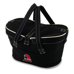 Picnic Time - Miami University (Ohio) Mercado Picnic Basket in Black - This Mercado Basket combines the fun and romance of a basket with the practicality of a lightweight canvas tote. It's made of polyester with water-resistant PEVA liner and has a fully removable lid for more versatility. Take it to the farmers market, the beach, or use it in the car for long trips. Carry food or sundries to and from home, or pack a lunch for you and your friends or family to share when you reach your destination. The Mercado is the perfect all-around soft-sided, insulated basket cooler to use when you want to transport a lunch or food items and look fashionable doing it.; College Name: Miami University (Ohio); Mascot: Redhawks; Decoration: Digital Print; Includes: 1 removable canvas lid