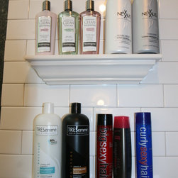 Bathroom Tile Storage - Easy to install ceramic crown molding shelf for shampoo and soap storage in the bathroom tile shower.