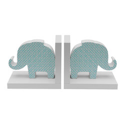 NURSERY DECOR - PRINTED BOOKENDS IN BLUE JAY TRELLIS PRINT.   SET OF 2.  MDF WOOD