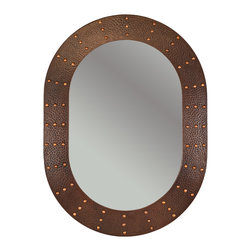 "Premier Copper Products - 35"" Oval Copper Mirror w/ Hand Forged Rivets - Uncompromising quality, beauty, and functionality make up this Hand Hammered Copper Oval Mirror Frame with Hand Forged Rivets.  Our hand made copper mirrors complement a wide variety of styles and colors."