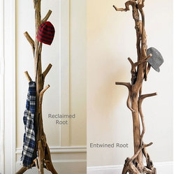 VivaTerra - Root Coat Stand - We've been on a rustic chic bender lately, and this reclaimed tree root coat rack is a wonderful way to bring the woods into your house. Standing unadorned, it makes a gorgeous piece of sculpture, so be warned, you may have trouble throwing your coat and hat onto it!