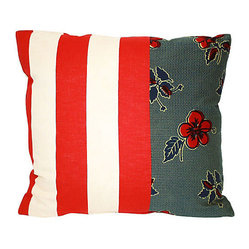 Acapillow - Floral & Striped Patchwork Pillow - For a unique look on your sofa or favorite chair, adopt this bright patchwork pillow in vintage and antique fabrics. The patterns play off one another, and are backed with natural hemp for extra style.