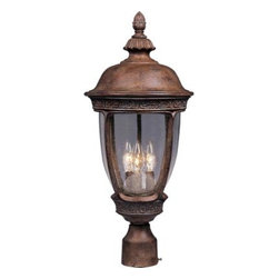 Maxim Lighting - Maxim Lighting 3460CDSE Knob Hill Cast 3-Light Outdoor Pole/Post Lantern - Knob Hill Cast is a traditional, European style collection from Maxim Lighting international in sienna finish with seedy glass.