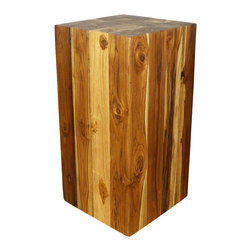 Kammika - Block Hollow Teak Wood End Table 12x12x23 inch H - Eco Friendly Livos Walnut Oil - Our Farmed Teak Block Hollow Sustainable Wood End Table  12 inch square x 23 inch height with eco friendly, natural Livos Walnut Oil Finish is made to look like a block of squares, but is easily transported, as inside is hollow. On the ends is a collage of tree rings from each branch that is squared to make this visually stunning block of Farmed Teak Wood.