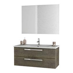 ACF - 38 Inch Grey Oak Bathroom Vanity Set - Set Includes: Vanity Cabinet (2 Drawers), high-end fitted ceramic sink, wall mounted vanity mirror.