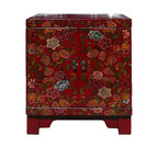 Golden Lotus - Chinese Red Lacquer Color Flowers End Table Nightstand Cabinet - This end table has a red surface base lacquer color. It is painted with colorful  flowers scenery.  ( the other piece has the same outlook, minor difference on the scenery)