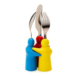 Q Squared NYC - Hug 3pc Set - What toddler doesn't love to play with their food? With this set of playful utensils, your toddler can work on his or her motor skills while having fun with a little set of characters. Each piece is dishwasher safe and tailor-made for small hands.