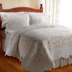 "Greenland Home Fashions - Guinevere Quilt Collection - Features: -Set includes one quilt and two standard sized shams (One sham per twin set). -King set comes with 2 king-sized shams. -Mini sets are available in Twin, Full/Queen, King and Jumbo King sizes. -Embroidered with sage and pink thread in a floral motif. -Vintage cottage style. -Mitered panels are joined with ruffled seams. -Intensively stitched in vermicelli pattern for elegance and durability. -Oversized for better coverage on todays deeper mattresses. -Material: 100% cotton. -Machine washable. Specifications: -Twin: 68"" W x 88"" D. -Full / Queen: 90"" W x 90"" D. -King: 105"" W x 95"" D. -Jumbo King: 120"" W x 118"" D. -Sham: 20"" W x 26"" D. -King Sham: 20"" W x 36"" D."