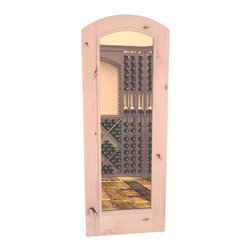 "CellarSelect™ Wine Cellar Door: Malbec Full Lite (Unfinished Alder) - Full length glass wine cellar door with eyebrow arch - built to last with exterior grade components including insulated low-E glass and solid core. 30"" x 80"" doors come complete with matching casings and auto-seal door bottom. Available in 5 beautiful stain and finish options, the Malbec will add that perfect touch to your cellar."