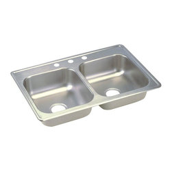 "Elkay - Elkay Dayton 33 x 19 Double Bowl Top Mount Sink with Three Holes (D233193) - Elkay D233193 Dayton 33"" x 19"" Double Bowl Top Mount Sink with Three Holes, Stainless Steel"