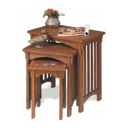 "PWL359 - 3 Pc Oak Finish Wood Mission Style Nesting Table Set - 3 pc oak finish wood mission style nesting table set.Convenient Set of tables is great to use beside a sofa or chair. Use as a set or separately as individual accent tables. Warm ""Mission Oak"" finish will complement any decor. Minor assembly required.  Measures Large: 22"" x 14"" x 22-1/2"" tall, Medium: 16-1/2"" x 11-1/8"" x 19"" tall, Small: 11-1/8"" x 11-1/8"" x 15-1/2"" tall."