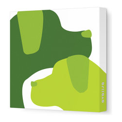 """Avalisa - Animal - Dogs Stretched Wall Art, 12"""" x 12"""", Green Hue - Add some fun color and woof-worthy style to your walls. These dapper dogs are printed in your choice of sizes and bright colors to make your walls pop — or, in this case, pup. Maybe you CAN teach an old dog new decorating tricks."""