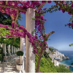 """Amalfi Wall Mural Wall Mural - Welcome the marvelous sites of Amalfi to your home with this colorful and magnificent wall mural. A picturesque town on the Gulf of Salerno known for its gorgeous sweeping cliffs and beautiful coastal scenery accents your room in a natural wonder. This wall panel stands at 12'1"""" x 8'4""""."""