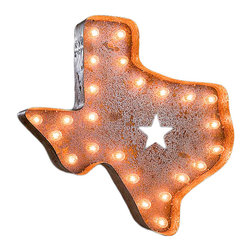 Vintage Marquee Lights - Vintage Marquee Lights Texas Vintage Marquee Light - Texas Vintage Marquee LightTurn up the lights to find your design spark! With the Texas Vintage Marquee Light, you can enjoy whimsical, eclectic-chic style. This light is made from distressed, rusted metal and is shaped into the state of Texas with a star cutout in the middle. It has an authentic look, as if it were truly plucked from a salvage yard or taken off of an old business sign. Stand it up on a high shelf, or mount it on your wall as vintage-inspired art. You can use it to show off your hometown pride or just to add some Southern charm to your space. Everything's brighter in Texas!Light can hang or stand upComes with two sets of bulbsAssembly requiredUp to four lights can be linked together