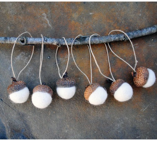 Wool Felted Acorn Ornaments by Angel Dog Designs - I will buy a few sets of these handmade felted acorn ornaments myself! How lovely on simple fall branches.
